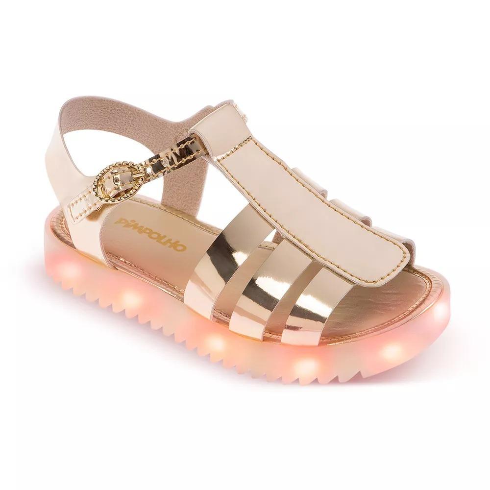 bbf3a1aaf6b sandalia de led pimpolho menina dourada. Carregando zoom.