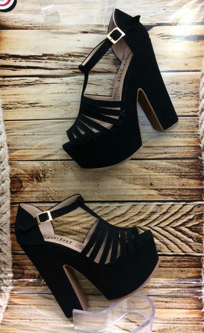 Moda Tacón Negro Plataforma Dama De Mujer Sandalia Color D9EIHYbeW2