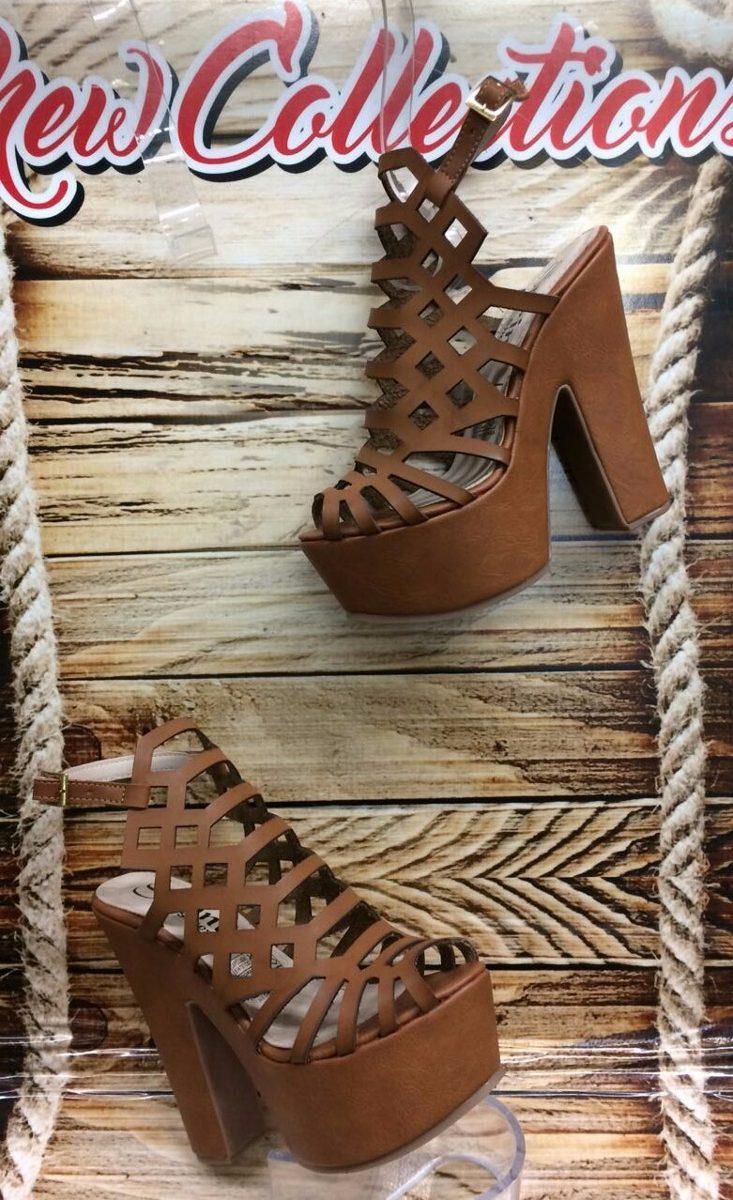 50a41d46dca sandalia de moda tacón plataforma color miel cafe mujer dama. Cargando zoom.