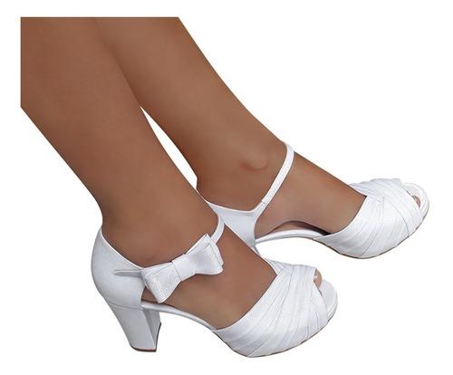 sandalia de noiva branca duani salto alto confortável