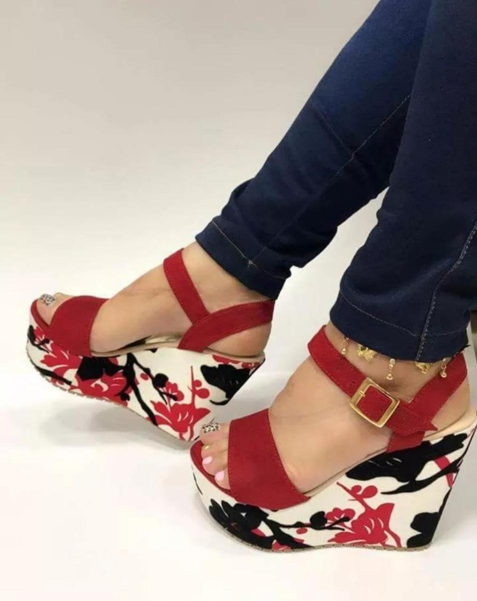 Plataforma Roja En Mujeres82 Para Sandalia Moda Dama 670 De 0wOknP
