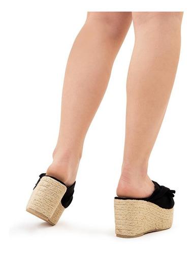 sandalia de plataforma negra anudada - qupid