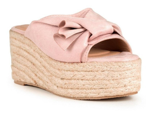 sandalia de plataforma rosada anudada - qupid
