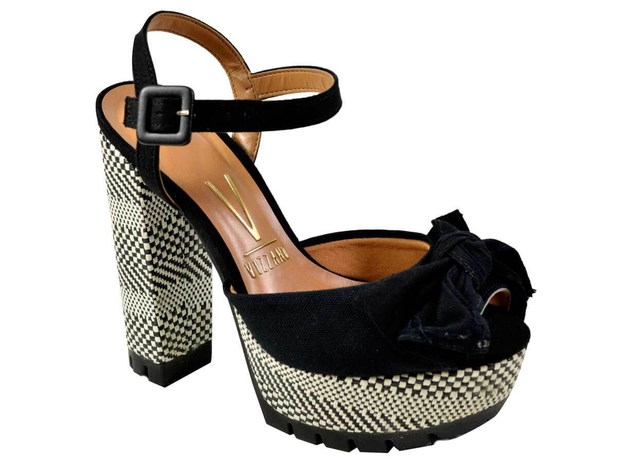 2ff11885a8 sandália de salto alto meia pata vizzano lona camurça preto. Carregando zoom .