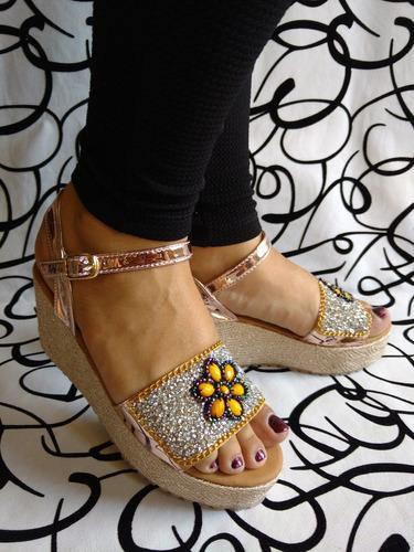 sandalia de suela media en pedrería murano dama envio gratis