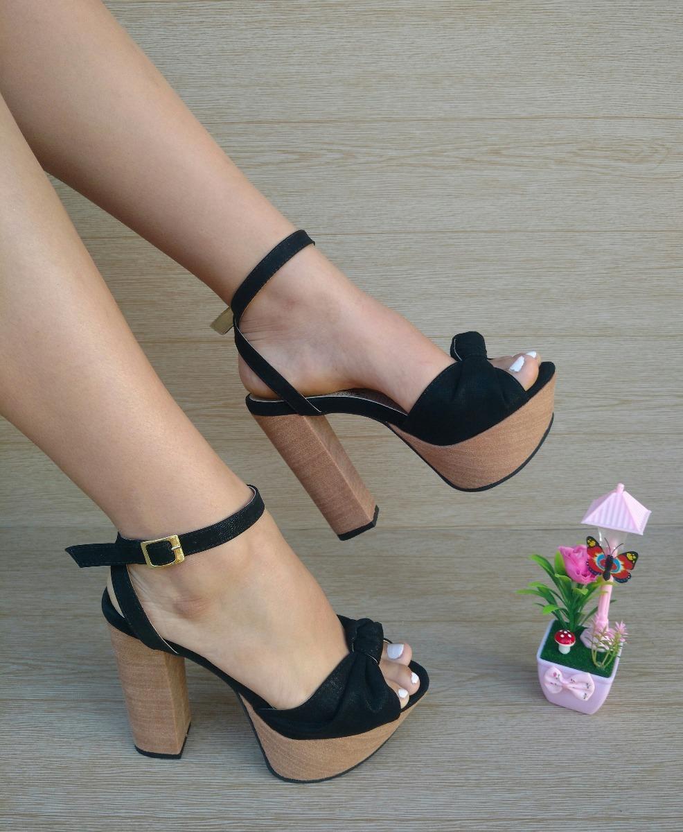 Alto Dama Mujer Elegante Moda De Sandalia Color Tacón Negro b6I7yYgvf