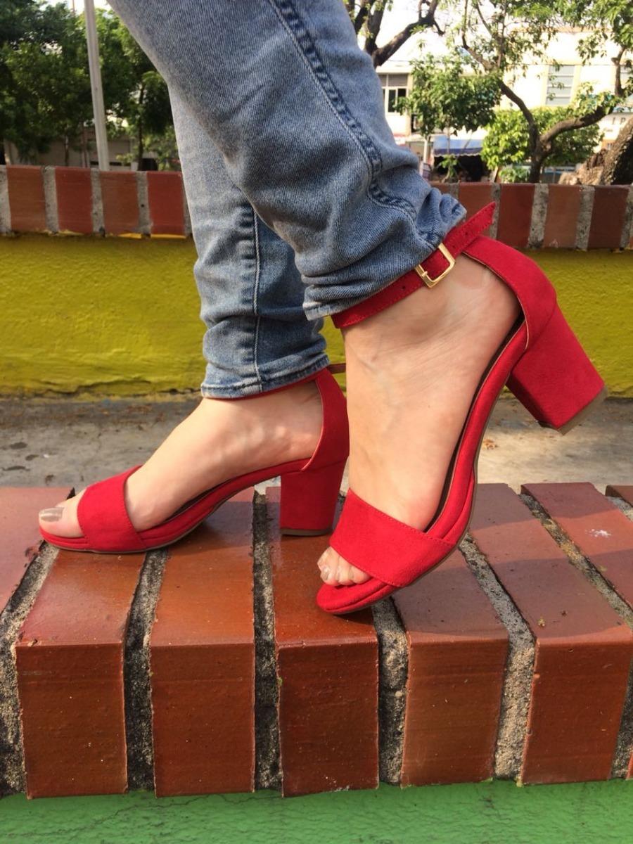 sandalia de tacón bajita de dama color rojo moda y elegancia. Cargando zoom. a84c7f837544