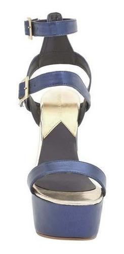 sandalia de tacón plataforma dama marino 016256