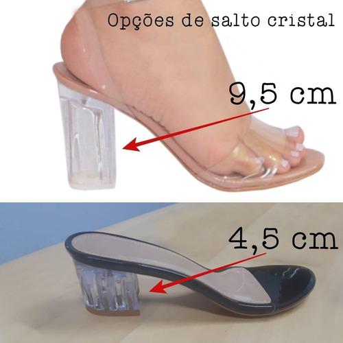 sandália delicada cristal vinil transparente salto acrílico