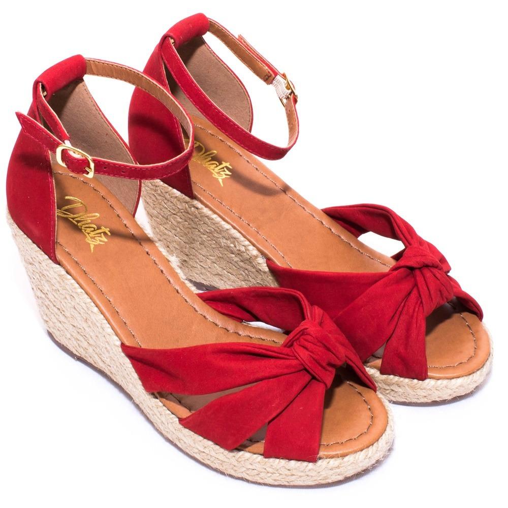 8522367c5 Sandália Dhatz Feminina Anabela Couro Salto Corda Vermelha - R$ 189 ...