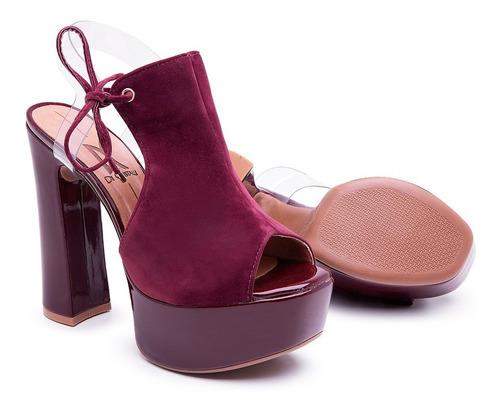 sandália di cristalli meia pata salto alto confortável