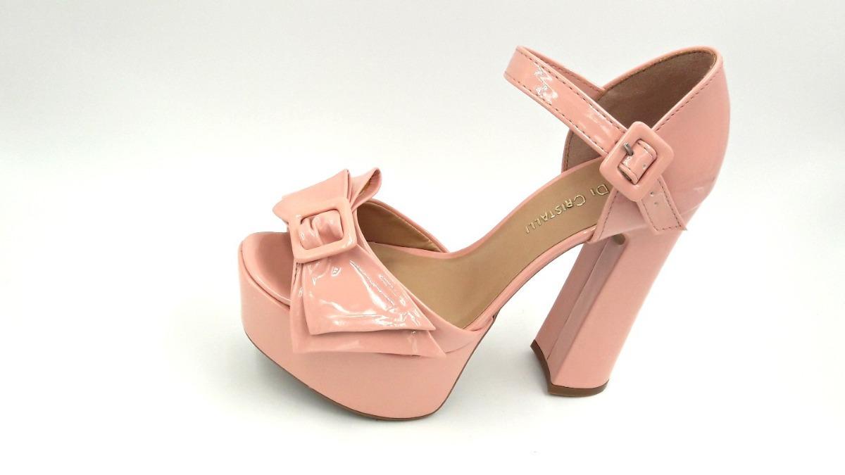 5e308f2e64 sandália di cristalli meia pata salto grosso verniz rosa. Carregando zoom.