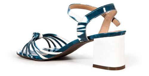 sandália divitrini verniz em tiras degradê salto baixo bloco
