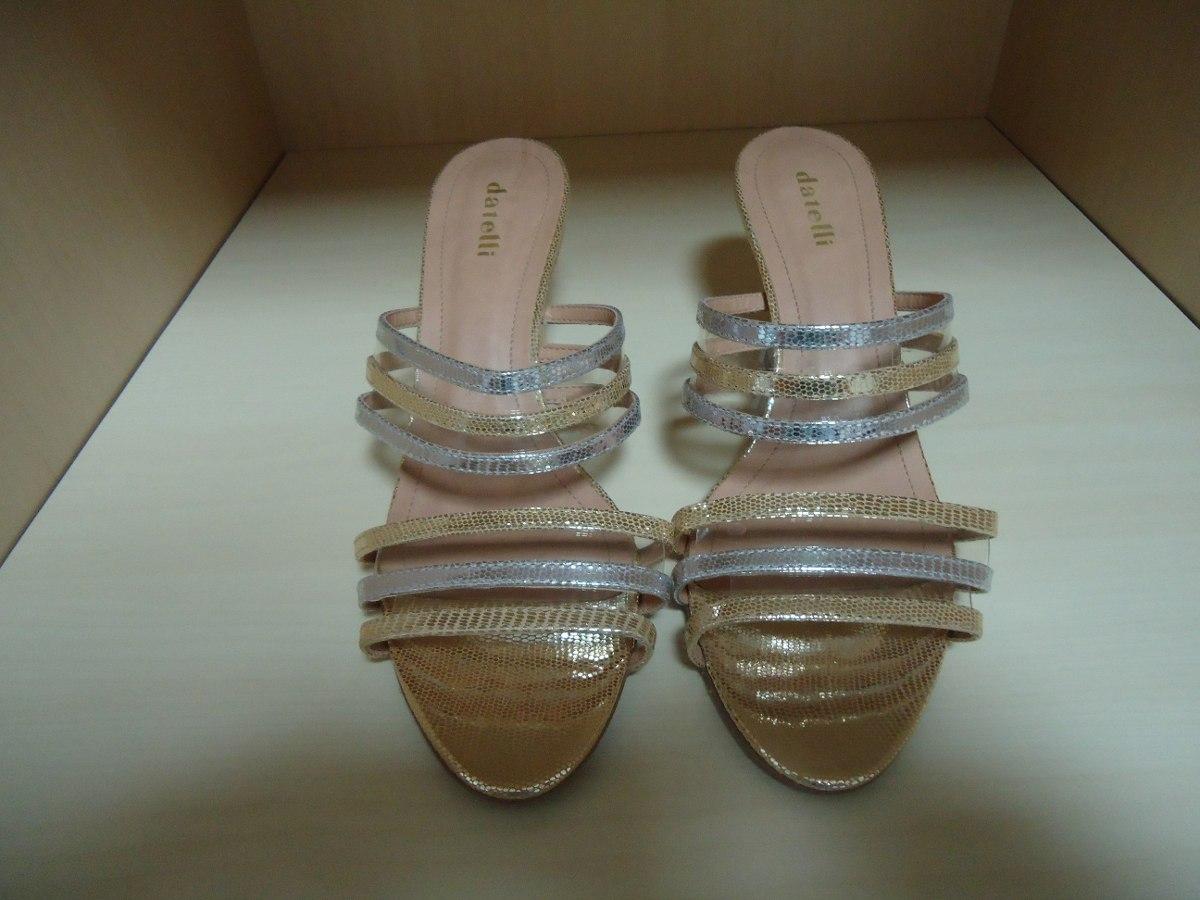 f95b669e01 sandália dourada e prata datelli - salto alto (nova). Carregando zoom.