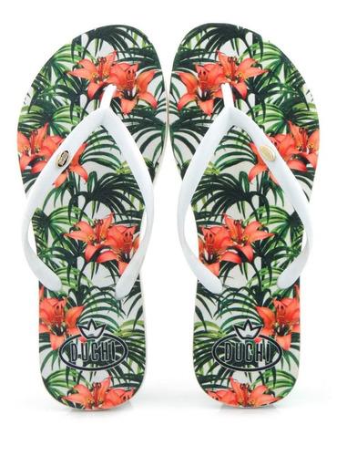 sandália duchi floral branca chinelos sapatos mania