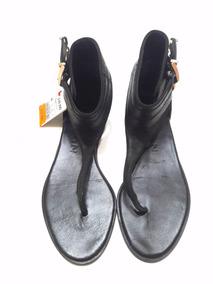 100Cuero Genuino Esclava Woman Sandalia Zara Negra Marca QWdroCxBe