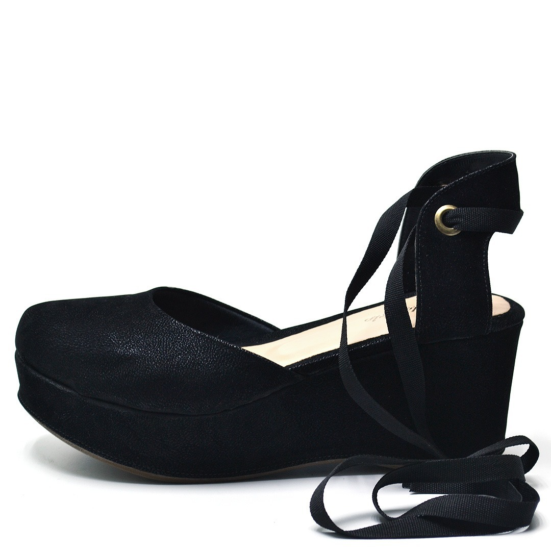 59027f0b6 sandalia espadrille amarrar na perna salto medio preta. Carregando zoom.
