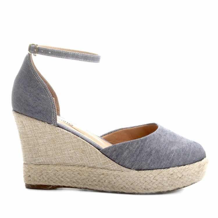 aa0ff54bf Sandália Espadrille Griffe Anabela Jeans - Azul Feminina - R$ 159,90 ...
