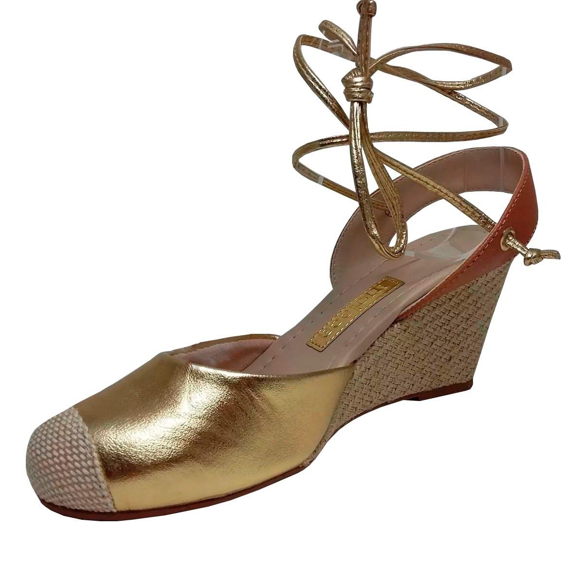 8c2d4e61ec sandália espadrille moleca dourada ouro anabela frete grátis. Carregando  zoom.