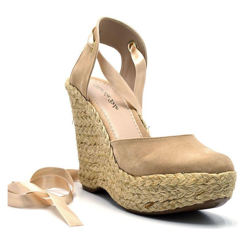 748acab883 sandália espadrille nude anabela feminina amarração 3005. Carregando zoom.