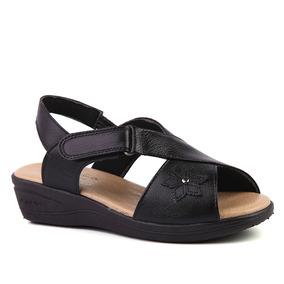 fcafe15ff6 Sandália Feminina Anabela 7998 Em Couro Preto Doctor Shoes