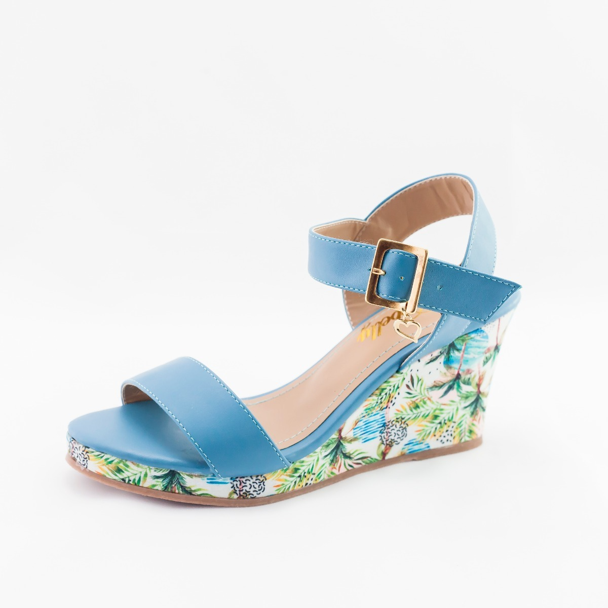 ddaa5c5fa0 sandália feminina anabela aberta floral salto médio cores. Carregando zoom.