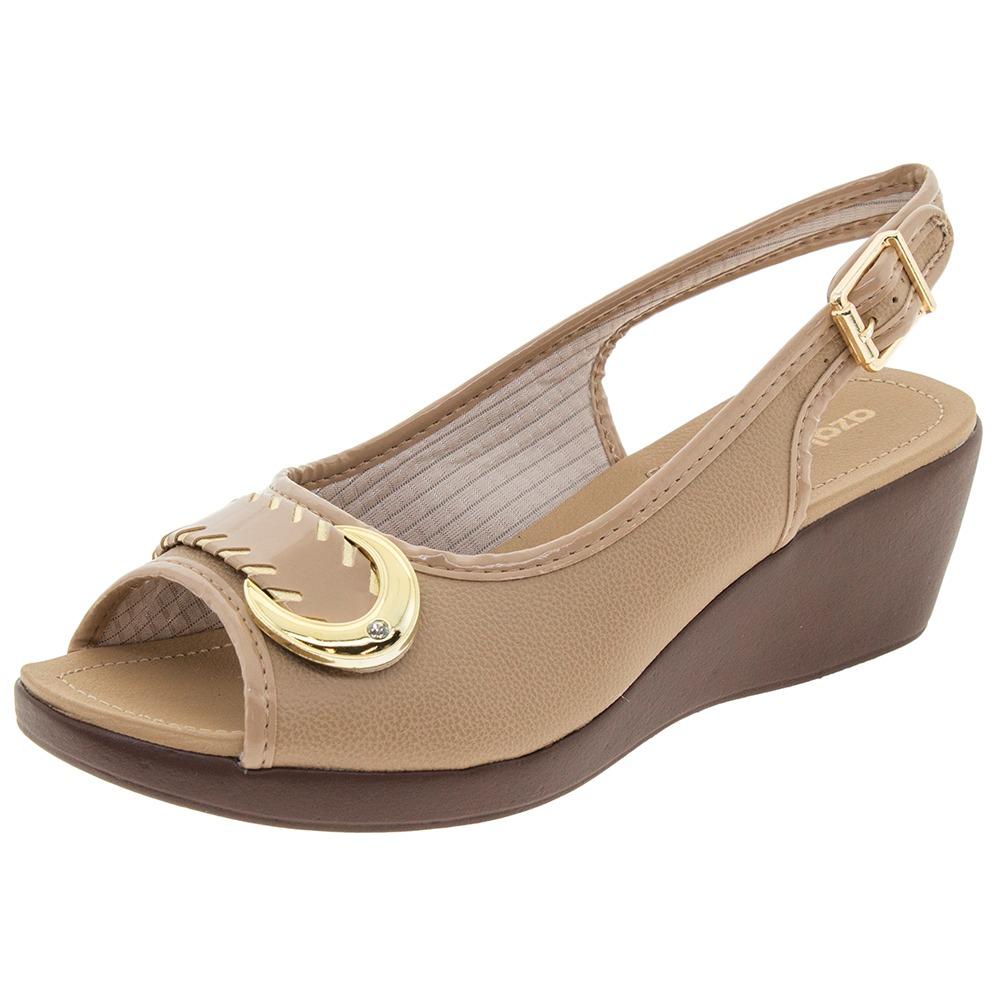 b61dd64d34 sandália feminina anabela bege azaleia - 604405. Carregando zoom.