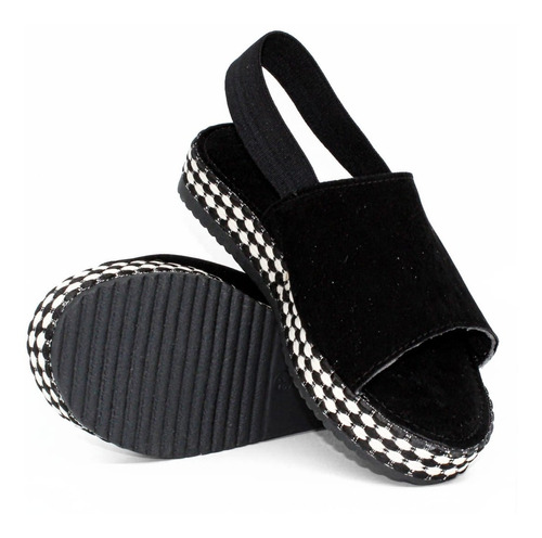 sandália feminina anabela confortável elástico cod: 139
