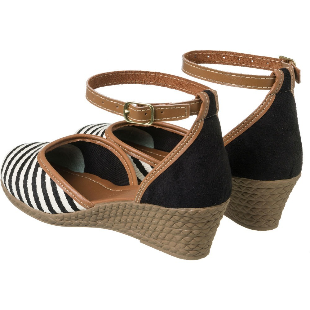 fad3117aa8 sandália feminina anabela espadrille listras preta e branca. Carregando zoom .