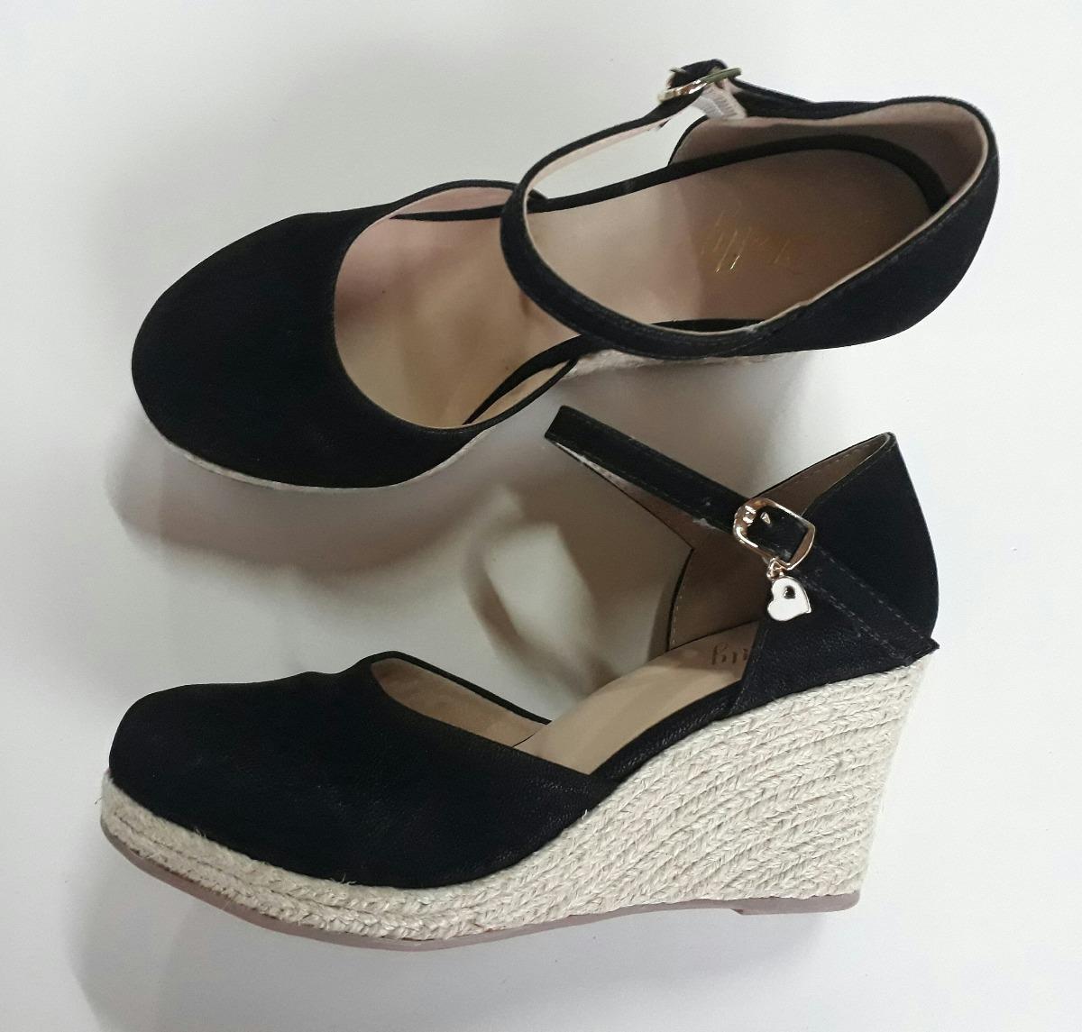a2451219b2 sandália feminina anabela espadrille salto médio alto preto. Carregando  zoom.