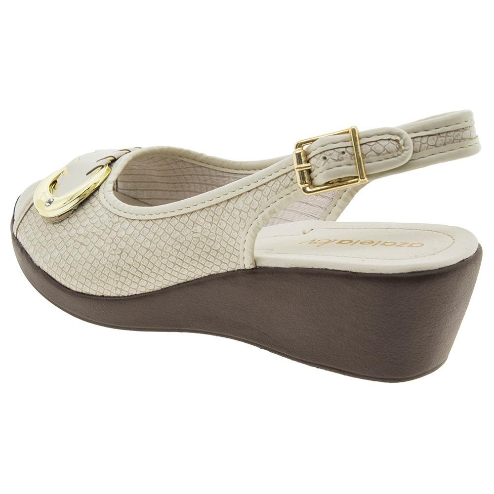 4db1c5ff65 sandália feminina anabela marfim azaleia - 604405. Carregando zoom.