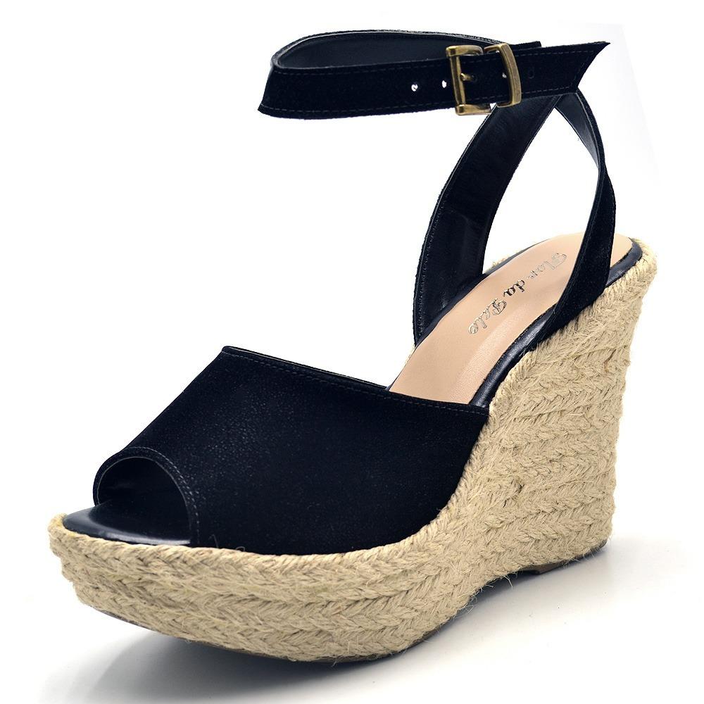 bd4b8a016 sandália feminina anabela plataforma salto alto enfeite. Carregando zoom.