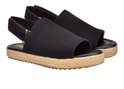 sandália feminina anabela tratorada corda  eleganteria