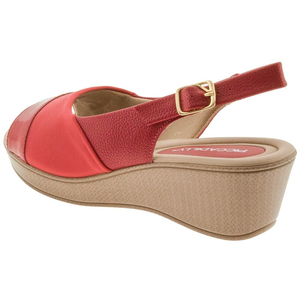 b784422666 sandália feminina anabela vermelha piccadilly - 540192. Carregando zoom.