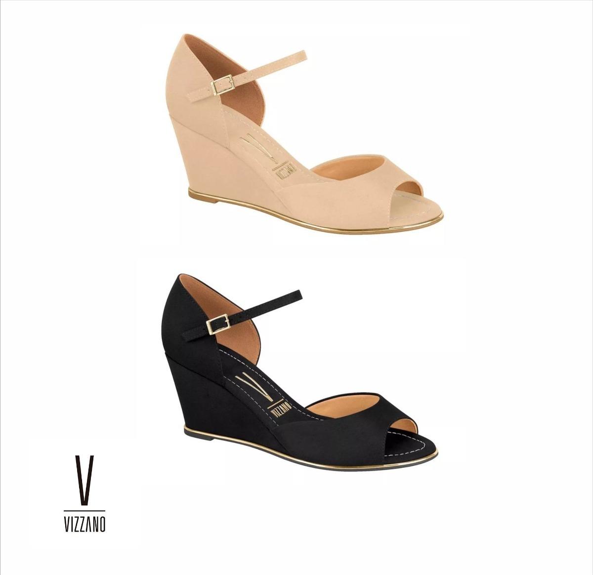 90d15deaa5 sandália feminina anabela vizzano 6271.111 - preto - bege. Carregando zoom.
