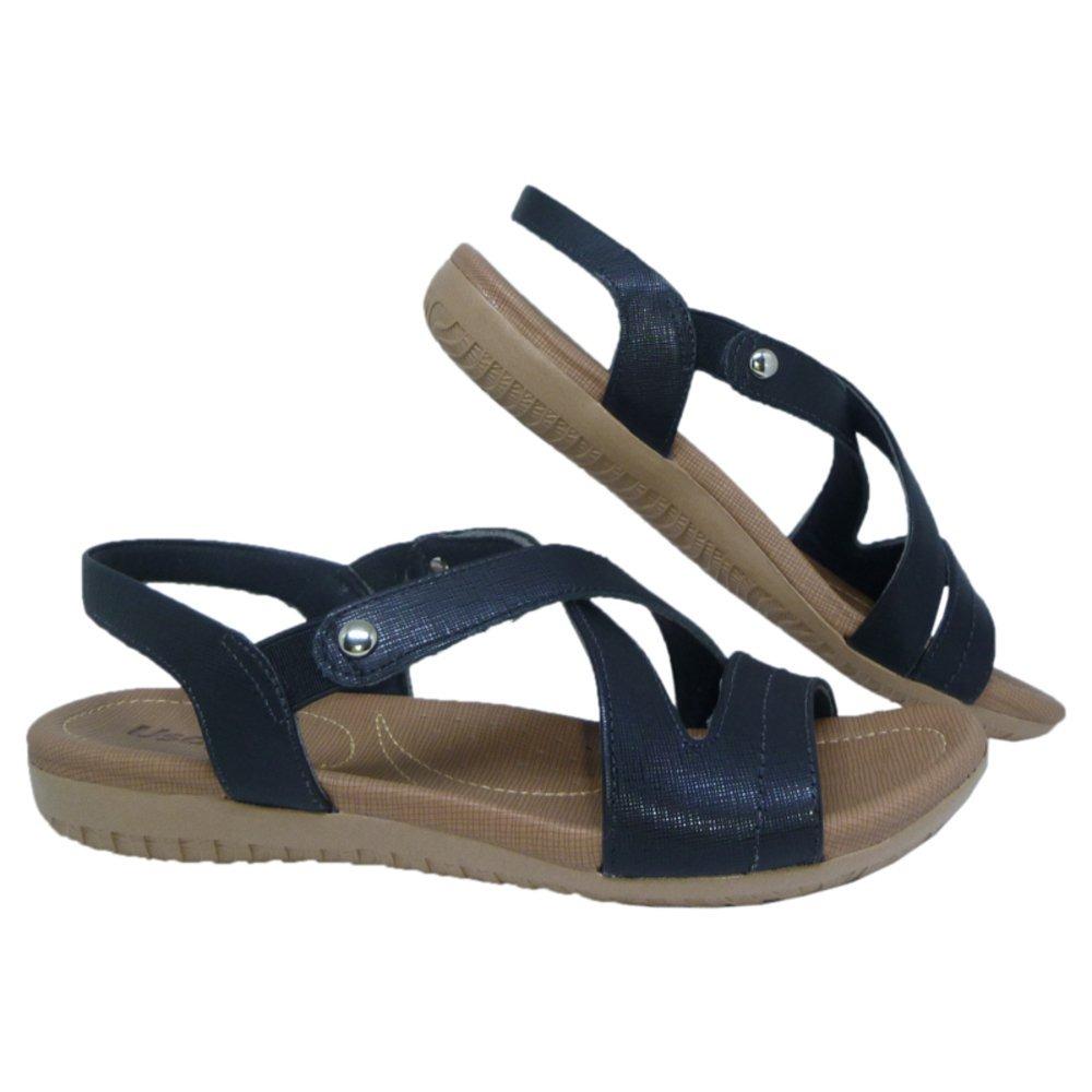 b09dbac43 sandália feminina anatômica em couro usaflex preta. Carregando zoom.