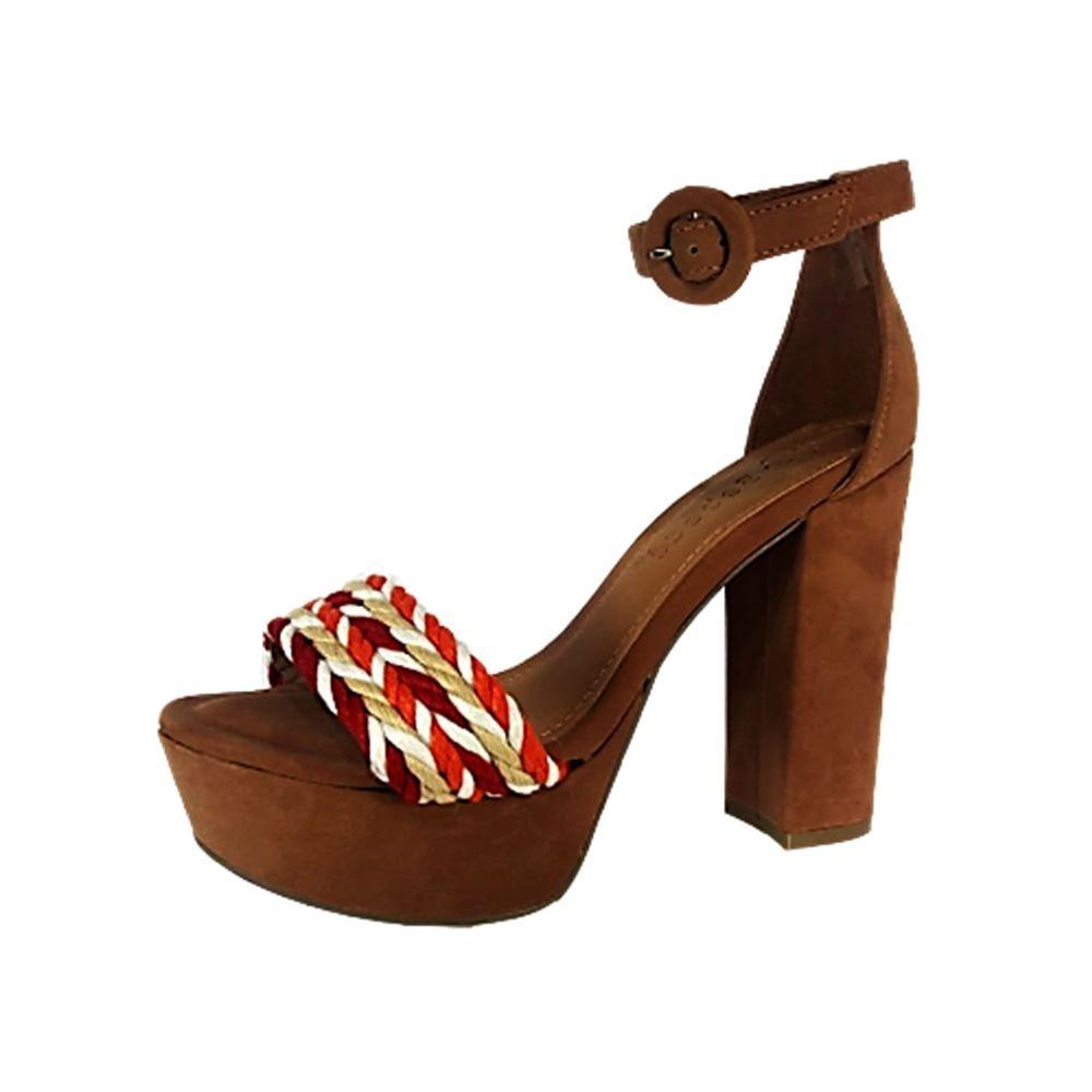 3a2db79666 sandália feminina bebecê meia pata nobuck caramelo 009516. Carregando zoom.