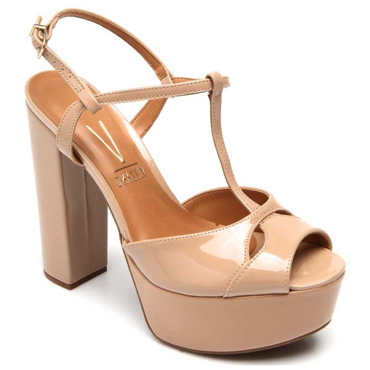 8c89c8a68 sandália feminina bege tira salomé vizzano - frete grátis. Carregando zoom.