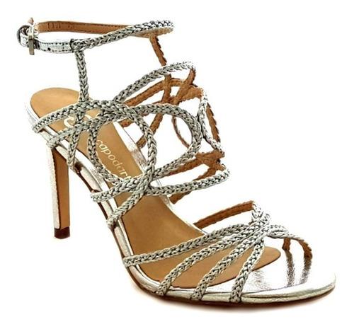 sandália feminina capodarte salto alto fino gladiadora tranç