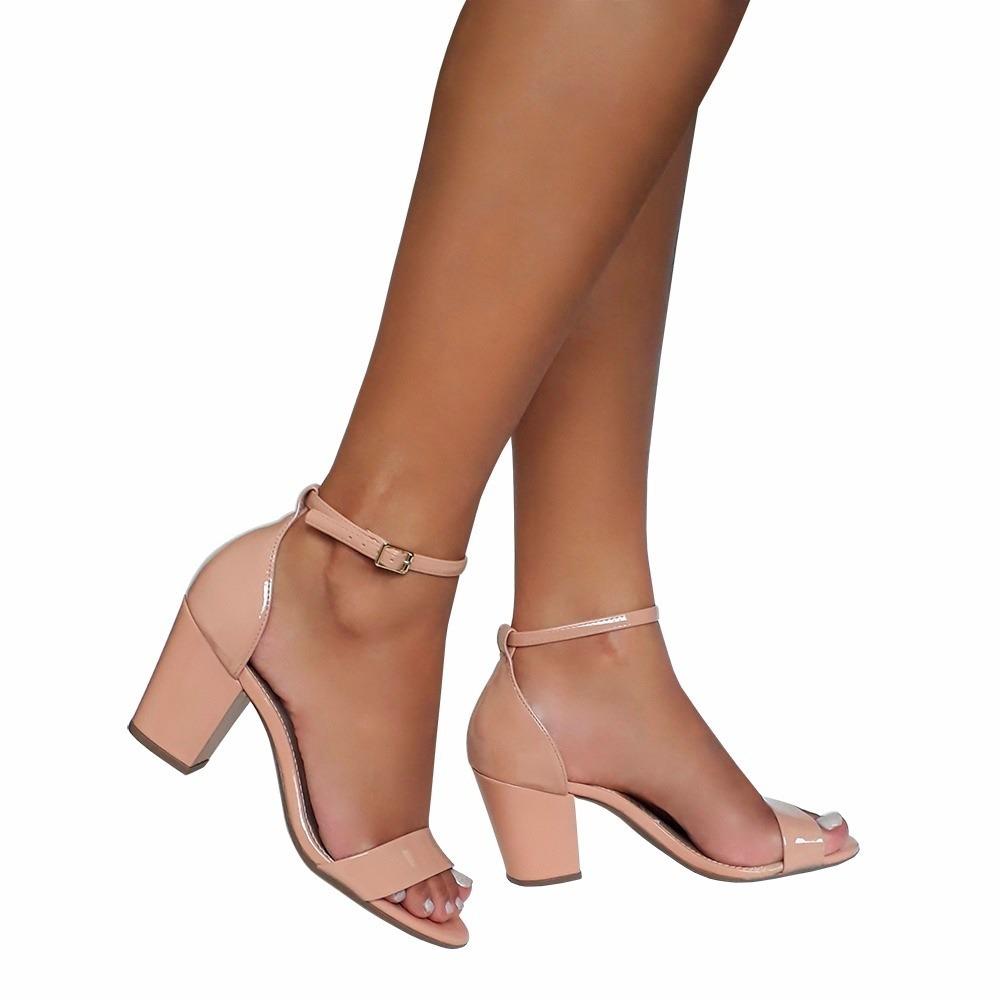 95360a65df sandalia feminina cor nude salto quadrado alto medio grosso. Carregando zoom .
