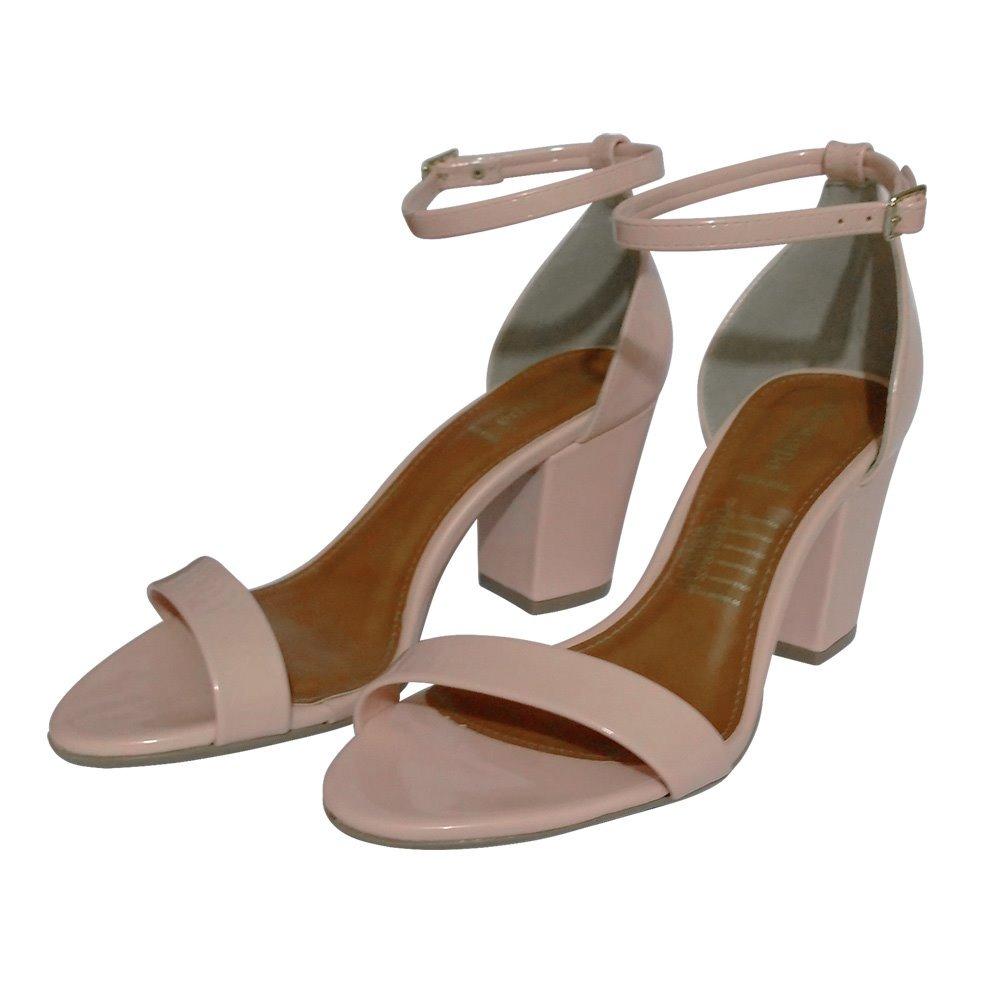 d2038e162 sandalia feminina de festa nude ou rosa salto medio grosso. Carregando zoom.