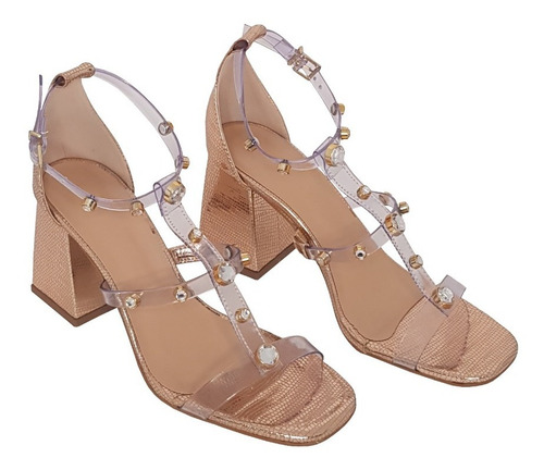 sandália feminina de vinil cor cobre metalizado salto bloco