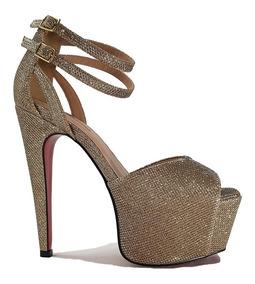 Sandália 15cm Amazona Salto Dourada Feminina Domamp; Cód 311 OXPZiku