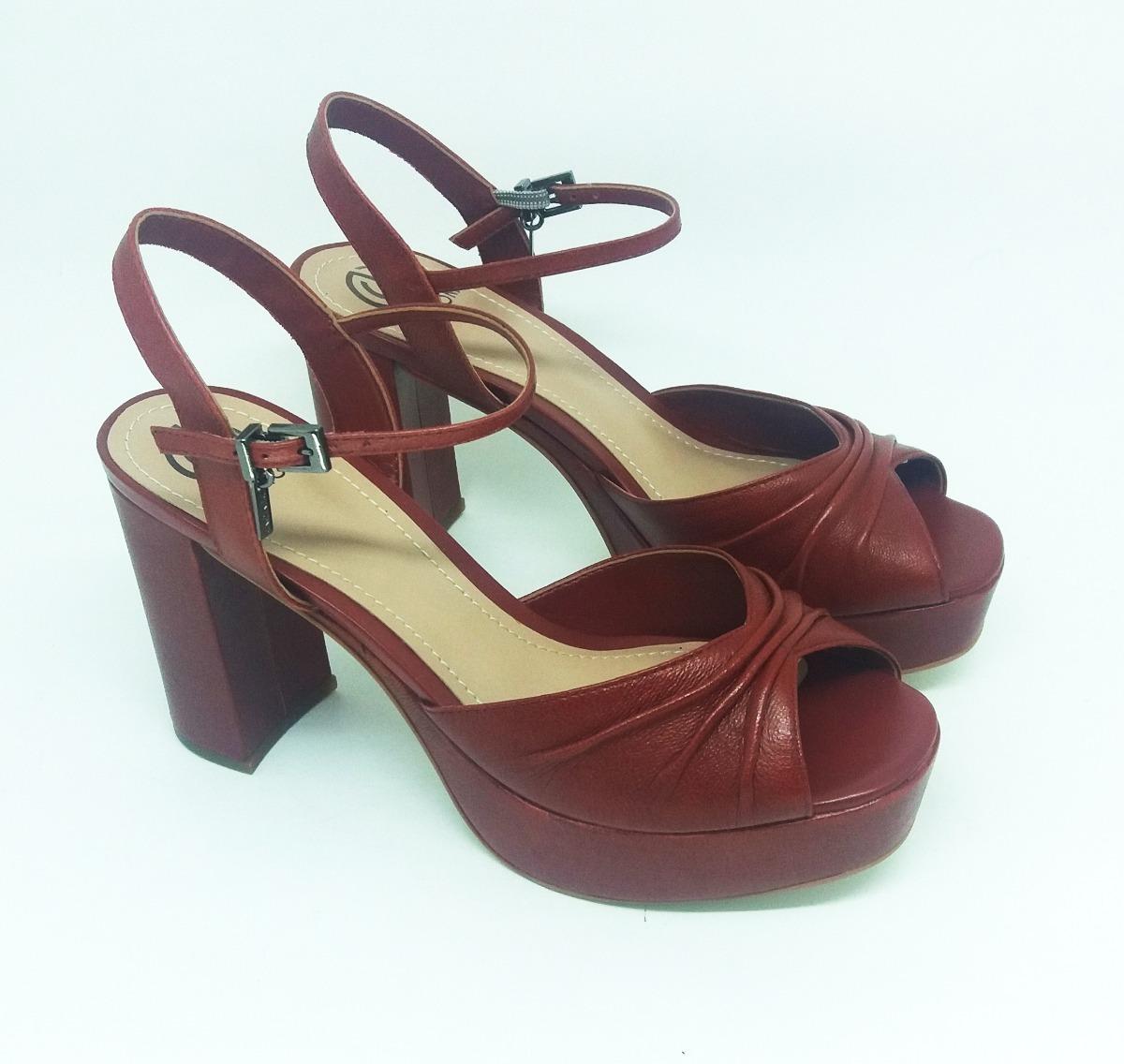 e563600072 sandália feminina dumond salto bloco cor brick na li   ca. Carregando zoom.