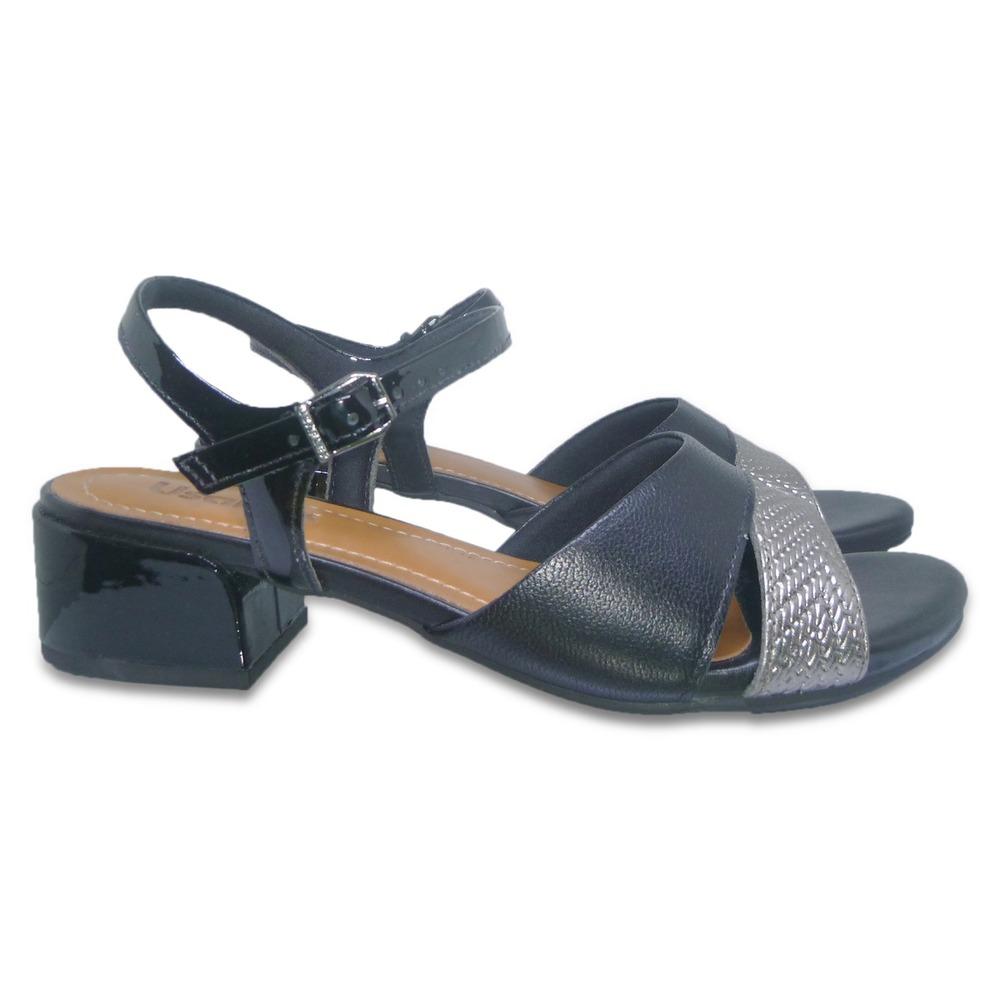 bbb270c376 sandália feminina em couro usaflex salto baixo conforto. Carregando zoom.
