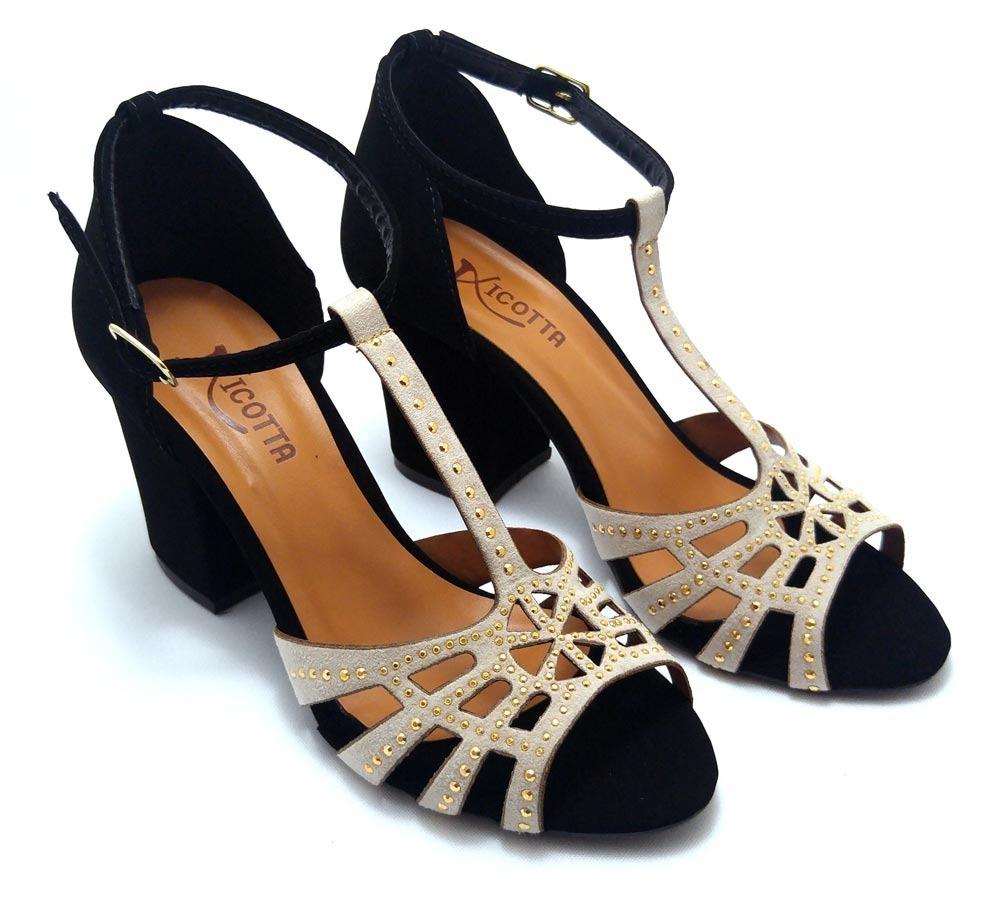 2f81d84871 sandália feminina festa preta salto baixo grosso aplicação. Carregando zoom.