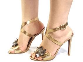 fb4cabcc9e Sandalia Festa Importada Dourada Com Pedrarias E Strass - Sapatos no ...