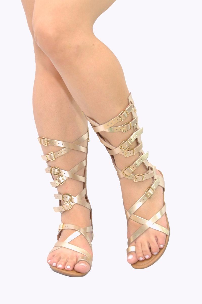 858c3b4c4 sandália feminina gladiadora cravo e canela dourada. Carregando zoom.
