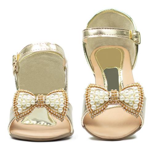 sandalia feminina infantil menina salto sapato festa moda 35