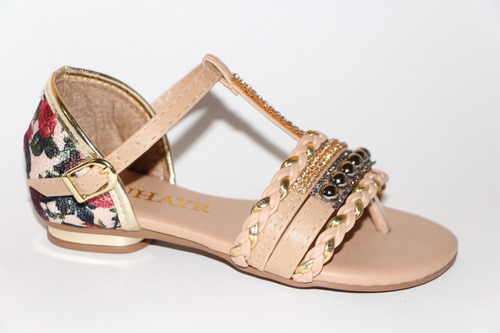 sandália feminina infantil rasteira menina zuhayr floral2053